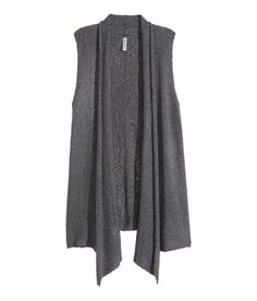 Slightly longer knit vest with draped lapels and no buttons.