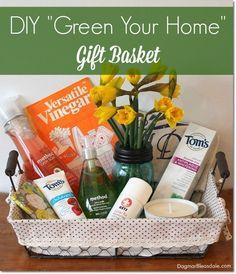 "DIY ""Green Your Home"" Gift Basket idea. DagmarBleasdale.com"