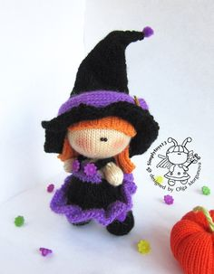 Pebble doll Young Witch and Pumpkin. Halloween. by simplytoys13