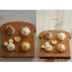 グリーンやブルーの目のアニマルパンたちです こんなシリーズも作ろうかなと考え中です #fakefood #sweet #ハンドメイド雑貨 #handmade #デコパン #キャラパン #animals # #パン #bread #miniatures