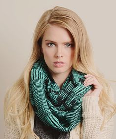Another great find on #zulily! Teal Graphic Knit Infinity Scarf #zulilyfinds