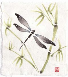 Dragonfly with bamboo on Rice Paper by Liza Paizis. This paper is also known as Rice Paper but it is made from Mulberry trees. It is beautiful to paint on in a spontaneous, direct way much like the Chinese style of brush painting called Shui-mo..