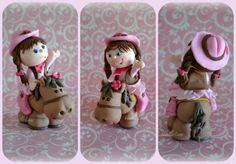 Sweet Little Cowgirl and her posse.  Just love, love love how my little cowgirl and her horse turned out.  She is made from a mix of fondant...