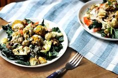 """Healthy Falafel Salad with Warm Roasted Veggies--perfect for late winter. """"Clean eating"""" can be comforting, too!"""