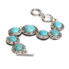 Turquoise Stone and Antique Silver Bracelet
