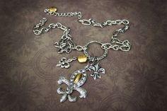 Fleur De Lis Jewelry  Charm Necklace by AngelaVenArtwork on Etsy, $22.00