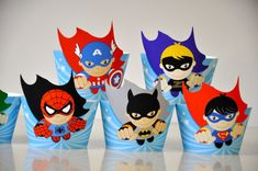 6 Super Heroes party cupcake wrappers & flash by GlitterInkDesigns, $8.00