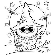 cutehalloweencoloringpagesforkids owl witch - Halloween Coloring Page