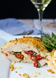Sun Dried Tomato, Kale, and Feta Stuffed Chicken Breasts