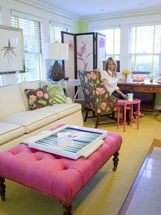 Home Office Pink And Green Design, Pictures, Remodel, Decor and Ideas