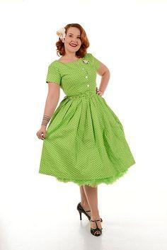 Isabelle Swing Dress, Grønn/hvit - Kjoler - Manillusion