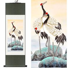 Chinese silk scroll painting  ... cranes ... coloring inspiration ...