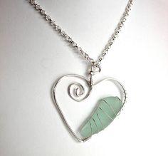 0f7e06e349258c Items similar to Silver Sea Glass Heart Aqua Necklace Beach Glass Pendant  Valentine Love on Etsy
