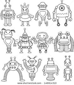 Doodle robots - vector
