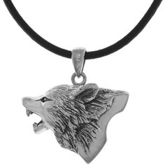 Carolina Glamour Collection CGC Silverplated Howling Wolf Head Pendant... ($24) ❤ liked on Polyvore featuring jewelry, necklaces, white, leather chain necklace, wolf pendant, black cord necklace, leather cord necklace and black leather cord necklace