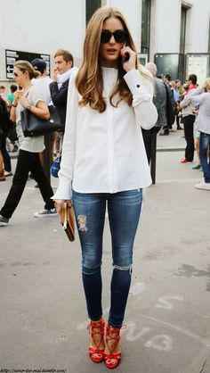 Olivia Palermo in a black and white striped top with a statement necklace. Description from pinterest.com. I searched for this on bing.com/images