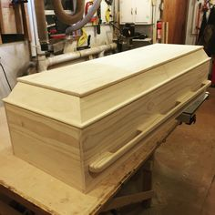 Casket, coffin, call it what you like. I prefer the term coffin but technically this is a casket. Just a few photos of the latest pine casket I've come up with a customer who happens to be planning ahead. More photos of the build process are on my. Woodworking Furniture, Woodworking Projects Plans, Diy Woodworking, Pet Caskets, Funeral Caskets, Halloween Coffin, Halloween 2018, Halloween Stuff, Funeral Planning