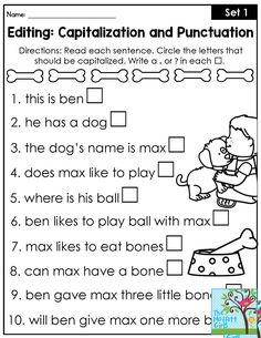 Editing: Capitalization and Punctuation- Grammar practice for first grade. Works with 1st grade beginning sentence and name capitalization and ending punctuation.