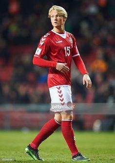 Kasper Dolberg of Denmark in action during the FIFA 2018 World Cup Qualifier match between Denmark and Kazakhstan at Telia Parken Stadium on November 11, 2016 in Copenhagen, Denmark.