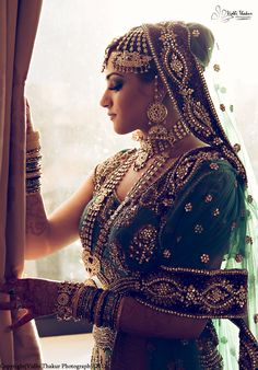 A beautiful bride in her bridal lehenga and enchanting royal, maharani jewellery, love it.