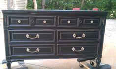 Beautiful Black Distressed Dresser