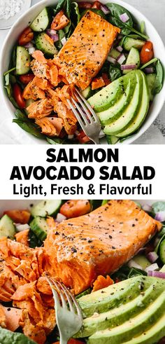Salmon Salad Recipes, Best Salad Recipes, Healthy Salmon Recipes, Seafood Recipes, Vegetarian Recipes Dinner, Dinner Healthy, Healthy Meals, Lunch Salad Recipes, Healthy Recipes For Dinner