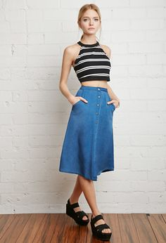 493c710bc2 17 Best How to Wear: Denim Skirts images in 2016   Denim Skirt ...