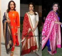 simple_salwars_with_banaras_and_kanjeevaram_dupattas