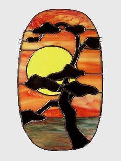 Puesta de sol Panel de vidrio árbol