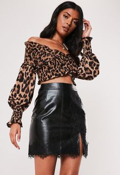 Order today & shop it like it's hot at Missguided. Lace Mini Skirts, Leather Mini Skirts, Leather Skirt, Girl Tied Up, Winter Skirt, Black Faux Leather, Missguided, Lace Trim, Ootd