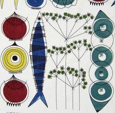scandinavian fabric Picknick Almedahls DIY cushion 50s vtg Marianne Westman