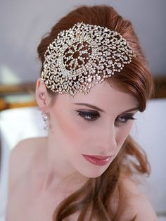 For engaged ladies who don't want to wear veils, this lacy crystal headpiece ($78) is a gorgeous alternative. It is available in rose gold or yellow gold, and it features sparkly crystals with an intricate embroidery pattern. // Affordable Bridal Hair Accessories