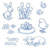 Vektor: Cute easter icon and animal pet collection, with easter eggs in nest, tulip flowers, rabbit, lamb, chick and lady bugs. Hand drawn vector illustration.