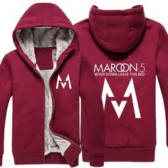 Maroon 5 Rock Rap Music Never Leave this BED Thick Fleece Mens Outwear Big Yards Cotton Hoodie Coat Jacket Parkas Warm