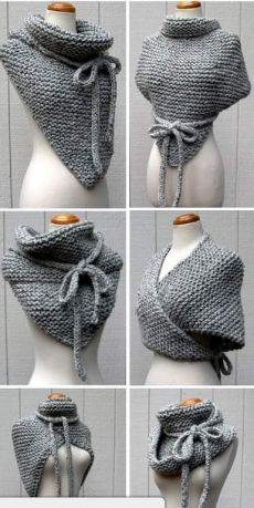 Knitting instructions for Easy Garter Stitch Wrap - Versatile scarf with . - Knitting ideas Knitting pattern for Easy Garter Stitch Wrap - Versatile shawl knit with garter stitch and I-cord ties can be worn in di. Crochet Gratis, Crochet Diy, Unique Crochet, Crochet Shawl, Crochet Ideas, Crochet Scarves, Popular Crochet, Knitting Scarves, Knitted Poncho