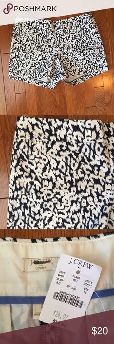 "J. Crew Factory 5"" stretch chino short Factory 5"" stretch chino short in navy/white cheetah print. Size 12. NWT. Side zip. J. Crew Factory Shorts"