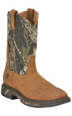 Ariat® Men's Aged Bark w/ Mossy Oak Camo Top WorkHog Square Toe Western Work Boot
