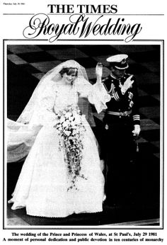 The wedding of the Prince & Princess of Wales, at St Paul's, July 29, 1981.