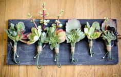i like the idea of boutonnieres that are all unique. love the use of succulents