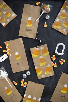 Candy Corn Potato Stamp Treat Bags DIY | Oh Happy Day! | Bloglovin'