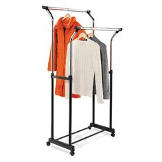 Flared Double Garment Rack in Black & Chrome