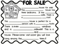 Gingerbread House For Sale- Adjectives-Descriptive Writing- LOTS of activities, very cute!