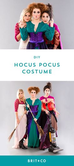 Grab your squad + dress up as the Sanderson Sisters from Hocus Pocus with this DIY Halloween group costume tutorial.