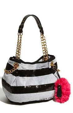 Juicy Couture 'Sequin Stripe' Velour Shopper | Nordstrom