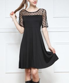 Another great find on #zulily! Black Sheer-Yoke A-Line Dress #zulilyfinds
