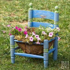 Make fun and interesting container gardens by turning an old chair into a planter.