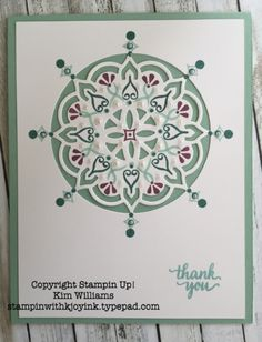 Stampin Up Eastern Palace Suite, Eastern Beauty stamp set, Medallion, ombre colors. Kim Williams, stampinwithkjoyink.typepad.com. Beautiful card idea from the new Stampin up 2017-2018 catalog