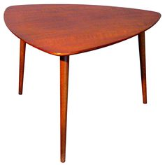 Walnut Tripod Side Table Made in Denmark for Raymor c.1950s   From a unique collection of antique and modern side tables at http://www.1stdibs.com/furniture/tables/side-tables/