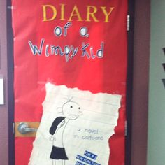 Decorate your door as a book cover for March is reading month! My kids voted... Diary of a Wimpy Kid it is :-)