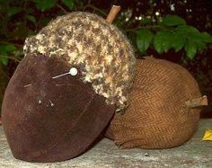 Vintage Velvet % Wool Acorns Pin Cushions.